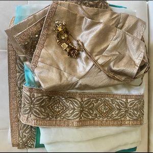 Indian Saree - Gold, cream, blue